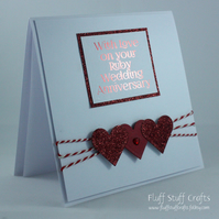 Handmade Ruby Wedding Anniversary card, 40th wedding anniversary