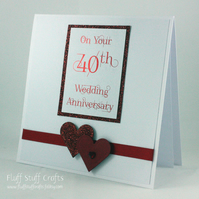 Handmade 40th Wedding anniversary card, ruby wedding anniversary