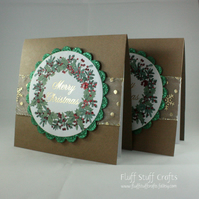 Handmade, upcycled Christmas cards - Christmas wreath - pack of 2