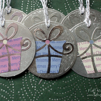 Handmade upcycled Christmas gift tags - pack of 6