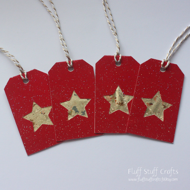 Handmade gilded star Christmas gift tags, pack of 4