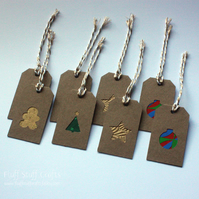 Pack of 8 handmade, mini Christmas gift tags