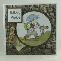 Handmade birthday card - the hiker