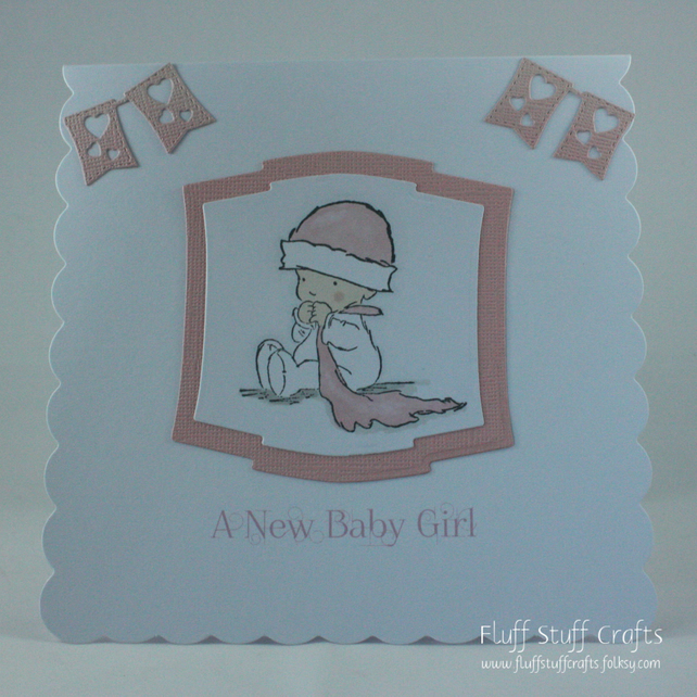 Handmade new baby girl card - baby with blanket