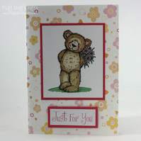 Cute teddy card - Just for you