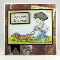 Handmade retirement card - walking the dog