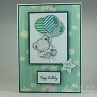 Handmade birthday card - teddy with balloons