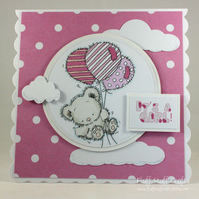 Handmade new baby girl card - teddy with balloons