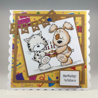 Handmade birthday card - cat and dog with birthday cake