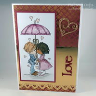 Handmade anniversary or engagement card - couple under umbrella