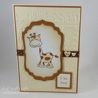 Handmade giraffe new baby card