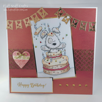 Handmade large birthday card - birthday cake surprise!