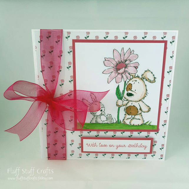 Handmade birthday card - dog and bunny friends