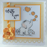 Handmade 'With Love' card - cute elephant
