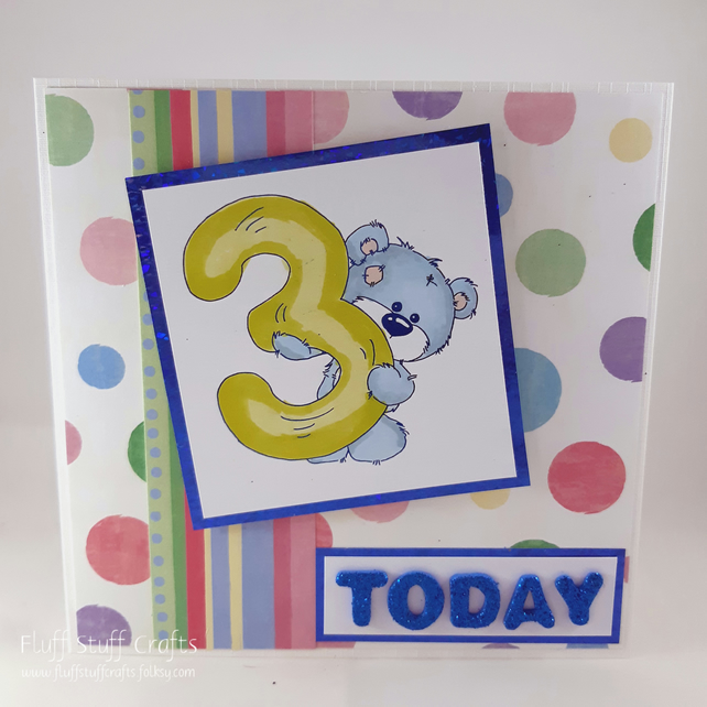 Handmade 3rd Birthday card - cute bear
