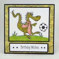 Handmade child's birthday card - footballing dinosaur or dragon