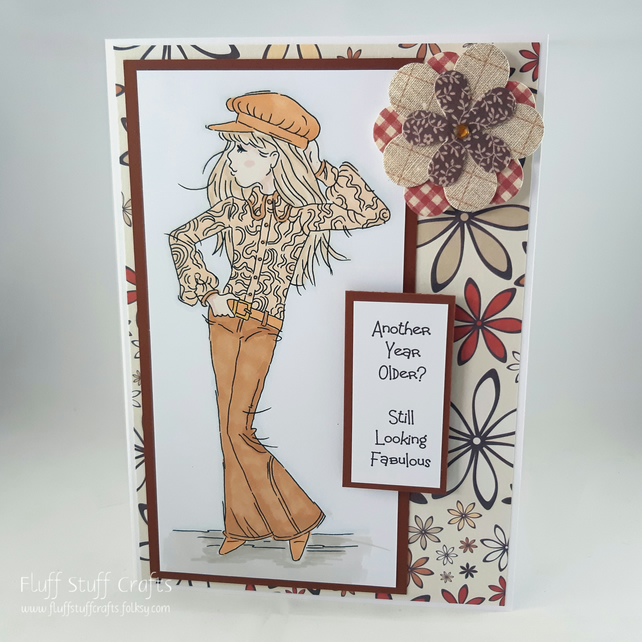 Handmade birthday card - girl in flares