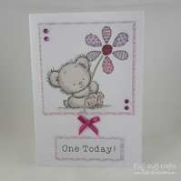 Handmade 1st Birthday card - bear with patchwork flower - one today
