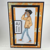 Handmade birthday card - looking cool, teenage birthday