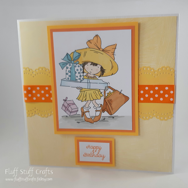 Handmade birthday card - girl with birthday presents