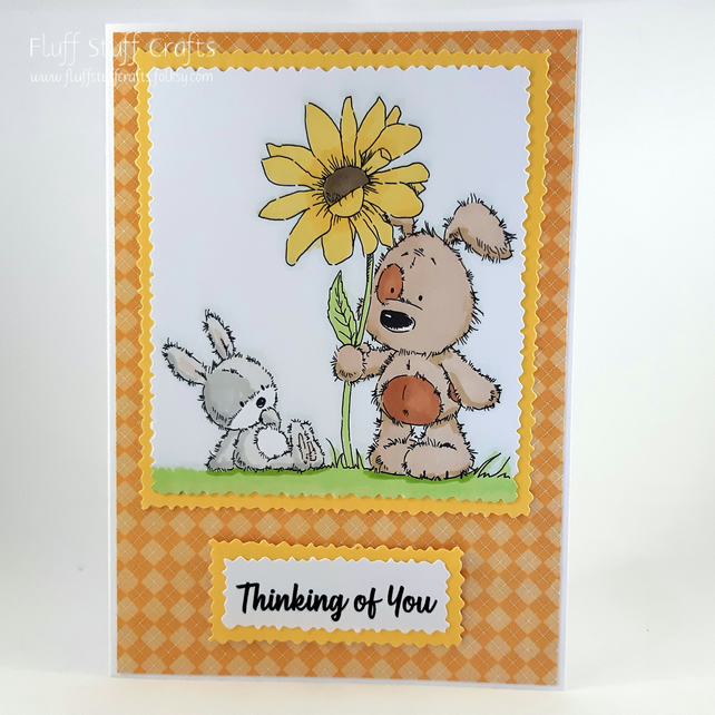 Handmade Thinking of you card - dog and rabbit