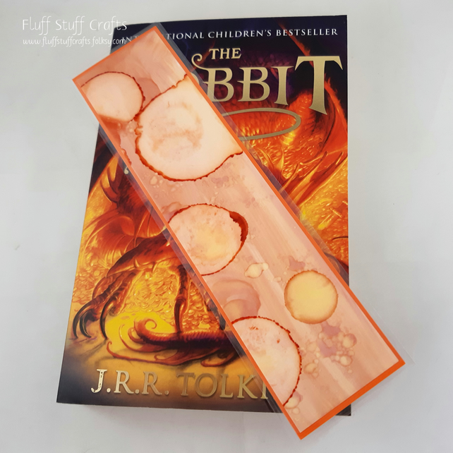 Handmade laminated bookmark, alcohol ink art
