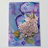 Mixed media ACEO, butterfly smile