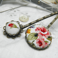 White Vintage Rose Button Hair Clips.