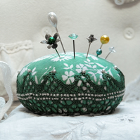 Bigger than Miniature Macaroon Pincushion, Mint Green