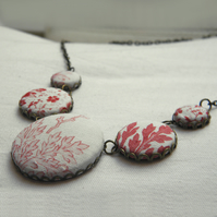 Antique Quilt, Fabric Button Necklace