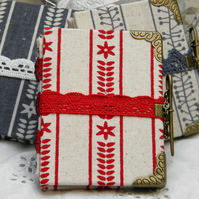 Bound Miniature Needle Book, Scandi Red and White