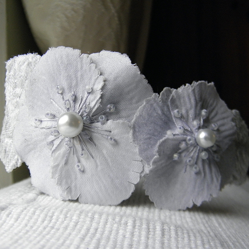 SALE 'Grey Lady' Fascinator Band...Ghost Poppies.