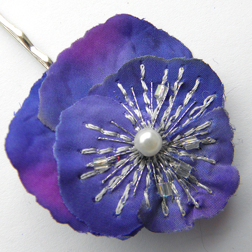 Purple and Blue Pansy Hair Clip