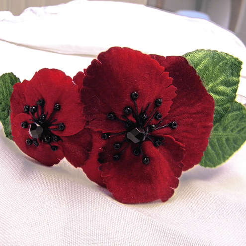 Remembrance Poppy Fascinator Band