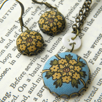 Yarrow, Fabric Covered Button Earrings and Pendant Set.