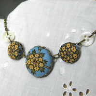 Yarrow Flowers, Fabric Covered Button Necklace