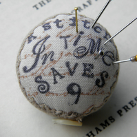 A Stitch in Time , Pincushion Brooch