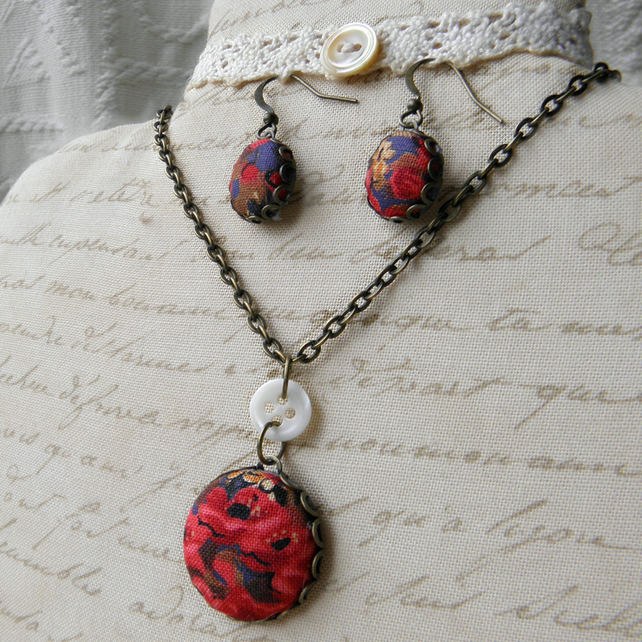 Limited Edition POPPY  Covered Button Earrings and Pendant Set with donation