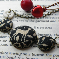 Doe a Deer, Fabric Covered Button Necklace