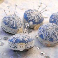 Embroidered Snowflake Pincushion Brooch