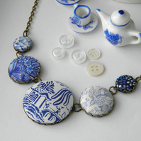 Blue and White China, Fabric Button Necklace