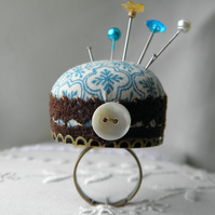 Teal Tiles Pincushion Ring