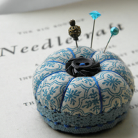 Miniature Pincushion, Teal Tiles