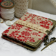 Bound Miniature Needle Book, Crimson Floral