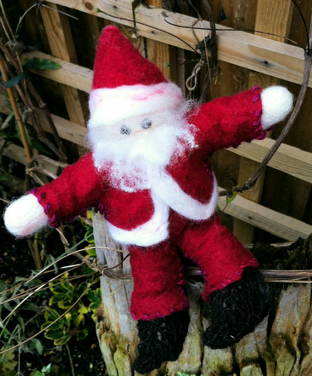 Knit and Felted Santa Claus