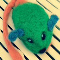 Felted Mouse Cat Toy - Green with Orange Tail