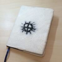 A5 2016 Diary, Calendar , Removable Felt Cover, Sami Rock Art Sun Moon