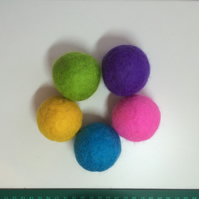 Felted Cat Ball Toys with Rattle - Set of 2 Mostly Green