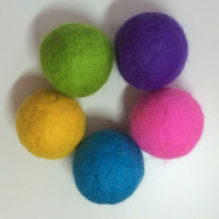 Felted Cat Ball Toys with Rattle - Set of 2 Mostly Blue