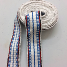 Organic Cotton Band 15 mm Loom Woven band, tape trim sash braid ribbon White Blu